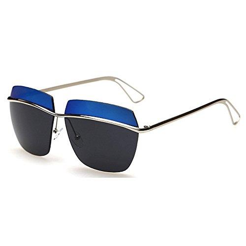 Lunettes Classique lentille Vintage Unisexe Rétro Blue UV400 Cadre Style Tons Yxsd Soleil de Pink Protection Réfléchissante Deux Couleur CwxnUgBgqd