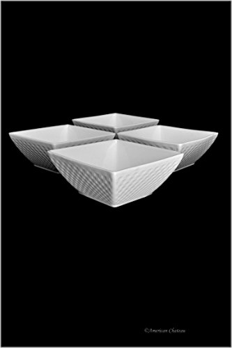 (Set 4 Extra Large 24oz Stacking White Porcelain Basket weave Soup Cereal Bowls)