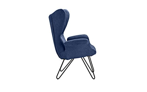 Accent Chair for Living Room, Linen Arm Chair with Natural Wooden Legs (Navy) by Divano Roma Furniture (Image #3)