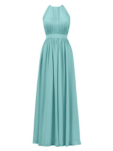 Alicepub Halter Illusion Bridesmaid Dress Chiffon Formal Evening Prom Gown Maxi, Tiffany, US16
