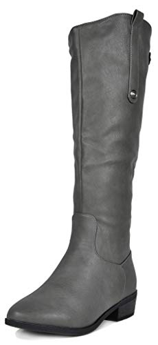 DREAM PAIRS Women's Grey Luccia-New Knee High Winter Riding Boots Size 7.5 B(M) US