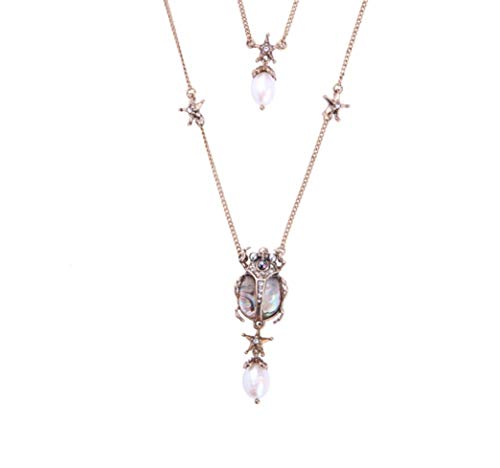 (NORTHSTAR PEARLS AND JEWELRY: Beetle Insect Fashion Necklace for Adults Vintage Gold-Tone, Victorian Style. A Skull and Stars Necklace. (Abalone)