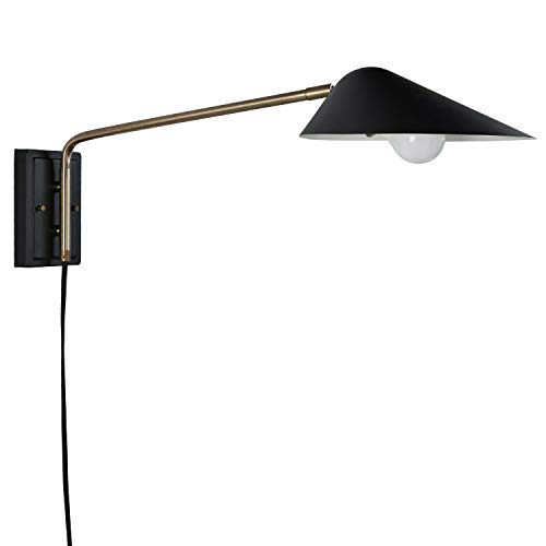 "Rivet Mid-Century Swiveling Long Arms, Pivoting Head, Plug-In, Hardwire or 2-in-1 Option Wall Sconce with Bulb, 11""H, Matte Black with Antique Brass"
