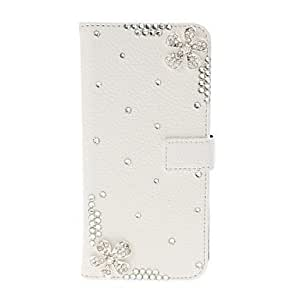 DIY Beauty Flower with Rhinestone Pattern Litchi Texture Leather Case with Stand for HTC One M8 by ruishername