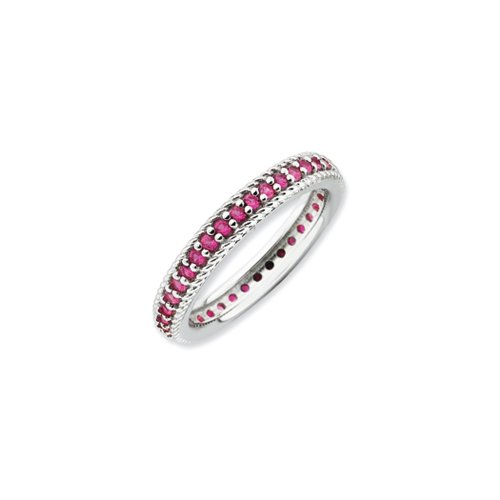 [Sterling Silver Stackable 3/4 Cttw Created Ruby Eternity Ring Size 5] (Created Ruby Eternity Ring)