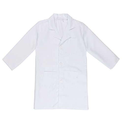 FEESHOW Kids Boy Girl Long Sleeve White Lab Coat Doctor Uniform Outfit Cosplay Costume White 7-8 by EESHOW