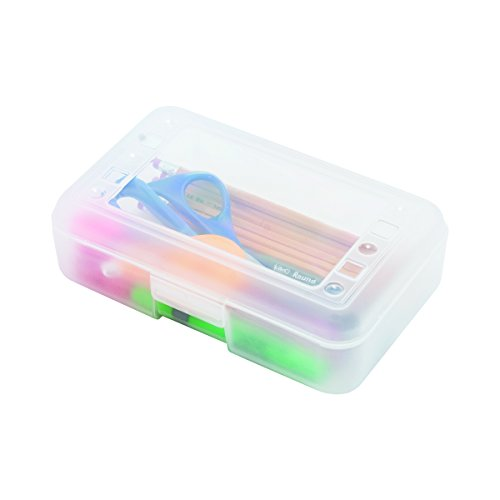 (ADVANTUS Polypropylene Pencil Box with Lid, 8.5 x 5.5 x 2.5 Inches, Clear (34104))