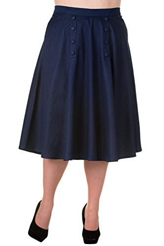 Banned Plus Vintage Style High Waist Denim Double Button Panel A Line Skirt (Double Button Front Skirt)