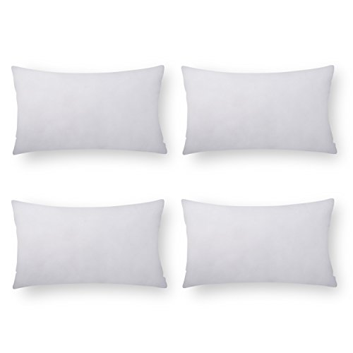 PHANTOSCOPE Pillow Insert Sham Square Form Polyester, 18″ L X 18″ W, Standard/White Set of 4