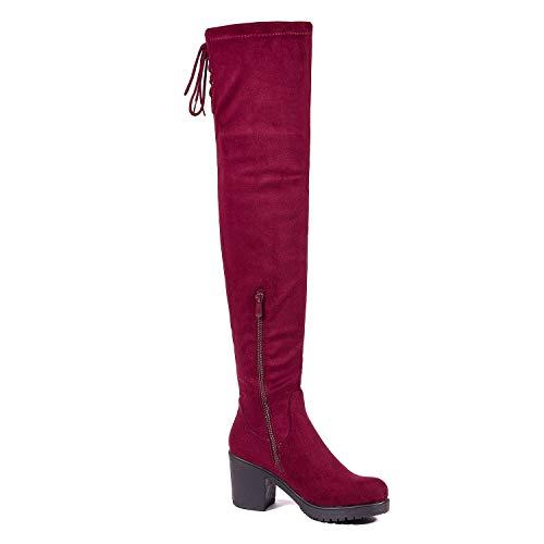 DREAM PAIRS Women's Thigh High Block Heel Over The Knee Boots