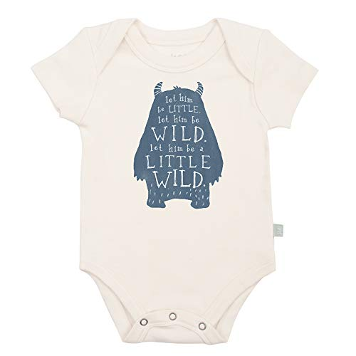 Finn + Emma Organic Cotton Graphic Bodysuit for Baby Boy Girl - 3-6 Months, Wild Child