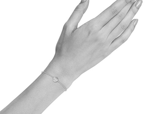 Or Blanc 9 ct Bracelet Diamant en forme de fleur, 0.06 Ct Diamant, GH-SI, 0.64 grammes.