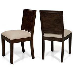 Urban Ladder Oribi Solid Wood Dining Chairs, Set of 2  Mahogany Finish, Wheat Brown