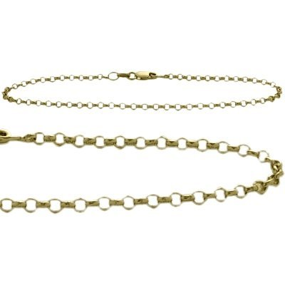 10K Yellow Gold 9 Inch Belcher Style Anklet by Elite Jewels