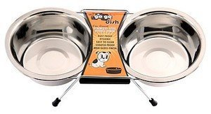 GoGo Pet Products Stainless Steel Double Diner Dog Bowl, 1-Quart by GoGo Pet Products