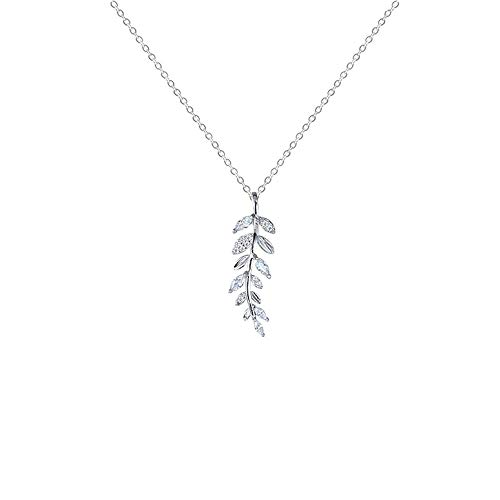 (Women's Silver Necklace, Sterling Silver Leaf Studded Necklace Fresh Temperament Flash Diamond Pendant Student Clavicle Chain for Girls and Women)