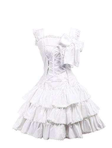 Antaina White Cotton Ruffle Bow Lace Classic Victorian Lolita Cosplay Dress,M