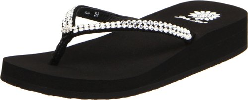 yellow box rhinestone flip flops - 3