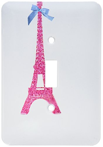 3dRose lsp_112907_1 Hot Pink Eiffel Tower from Paris with Girly Blue Ribbon Bow White Stylish Parisian France Souvenir Single Toggle Switch