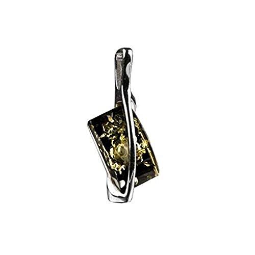 Rectangular Shaped Pendant (Sterling Silver Green Amber Rectangular Shaped Stone Pendant)