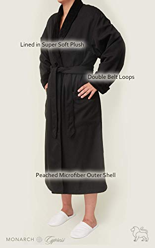 8517699df7 Plush Lined Microfiber Spa Robe - Unisex Luxury Hotel Bathrobe by Monarch  Cypress at Amazon Women s Clothing store  Bathrobes
