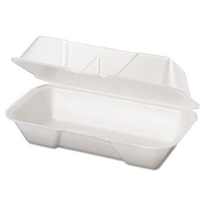 GENPAK Foam Hoagie Hinged Container, Medium, White, 125/Bag, 500/Case by ()