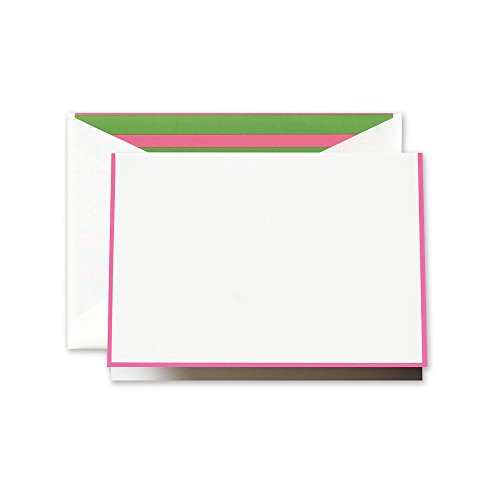 Crane Raspberry Bordered Note with Pink and Green Stripe Lining (CF1617) Green Stripe Note