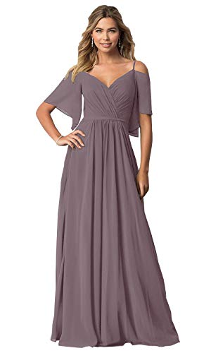 KKarine Women's Off The Shoulder Ruffled Chiffon Bridesmaid Dresses Long Formal Prom Gown (8 Wisteria) -