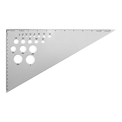 Alumicolor 30-60-90-Degree Drafting Triangle, Alumnium, 12 inches, Silver (5273-1)