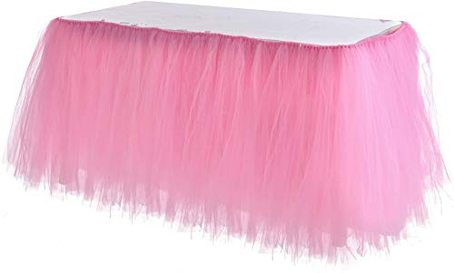 Little Princess Baby Shower Decorations (Adeeing Tulle Table Skirt, Tutu Pink Table Skirting Cover for Party, Baby Shower, Wedding, Birthday, Home Decoration - 1Yard)