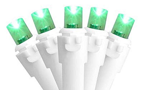 Northlight Set of 50 Green LED Wide Angle Christmas Lights - White Wire