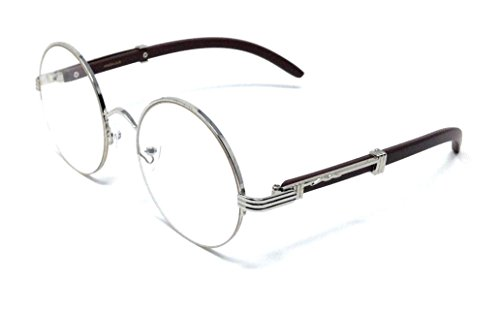 Professor Half Rim Round Metal & Wood Eyeglasses/Clear Lens Sunglasses (Silver & Dark Brown Wood Frame, Clear) ()