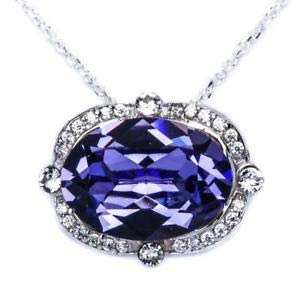 Gorgeous Fine Tanzanite & Cz High End 925 Sterling Silver Pendant Necklace - Jewelry Accessories Key Chain Bracelet Necklace -