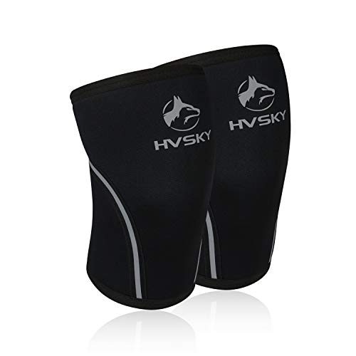 HVSKY Fitness Knee Sleeves for Weightlifting - Compression for Crossfit, Powerlifting, Squats - 7mm Lifting Sleeve Support (1 Pair), for Men & Women (Carbon Grey, Medium)
