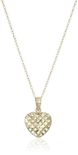14k Yellow Gold Diamond-Cut Puffed Heart Pendant Necklace, 18
