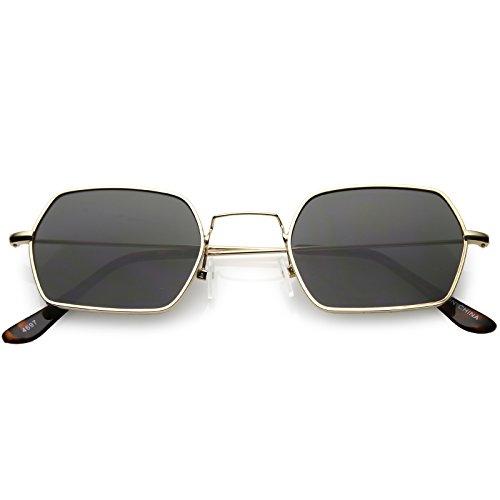 (sunglassLA - Geometric Hexagon Sunglasses Ultra Slim Metal Neutral Colored Flat Lens 51mm (Gold/Smoke))