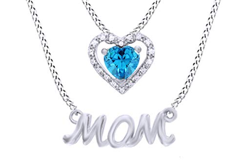 (Mothers Day Jewelry Gifts Simulated Aquamarine & White Diamond Accent MOM Double Strand Pendant Necklace in 925 White Gold Over Sterling)