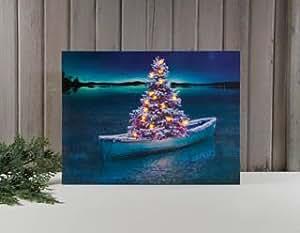 Christmas tree row boat at the lake lighted for Christmas wall art amazon