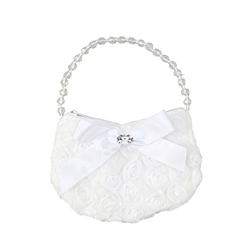 Girls White Rosette Rhinestone Beaded Handle Ribbon Bow Accent Bag Purse