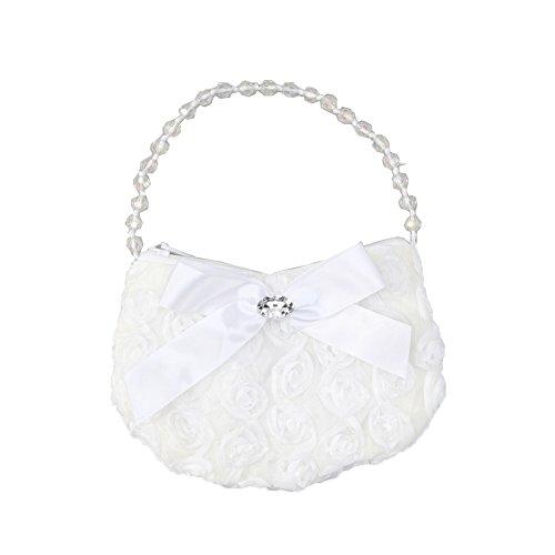 Girls White Rosette Rhinestone Beaded Handle Ribbon Bow Accent Bag Purse