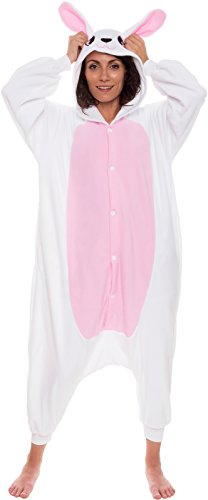 Silver Lilly Unisex Adult Pajamas - One Piece Cosplay Bunny Animal Costume (Bunny Adult Costume)