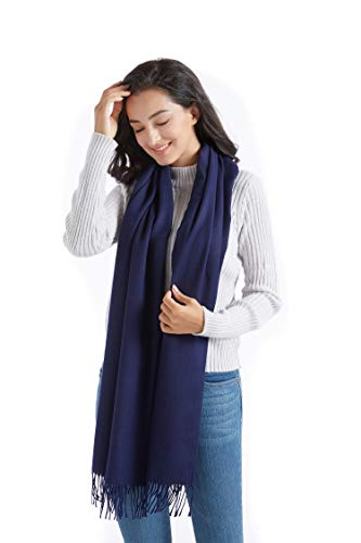 (Supplim Cashmere Scarf Soft Wool Wraps Shawls Stole Winter Scaves for Men Women (Pashmina Style, Navy Blue))