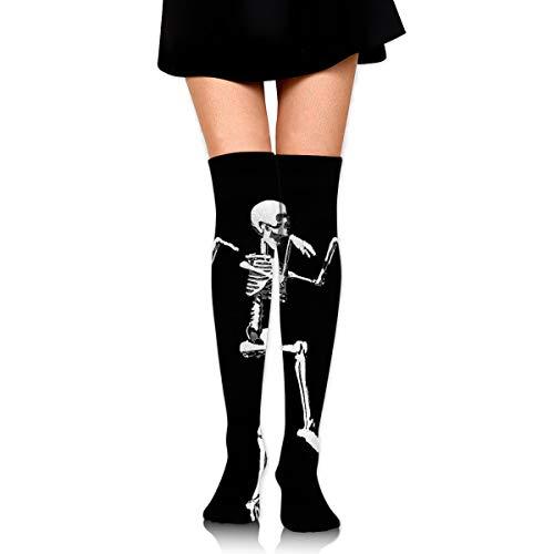 (MFMAKER Women Halloween Posable Skeleton Skull Black Tube Socks Over The Knee Thigh High Stockings for Girls High Long Soccer)