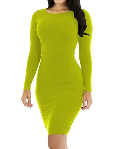 Hioinieiy Womens Crew Neck Long Sleeve Midi Bodycon Dress Women's Skin Tight Fitted Knee Length Pencil Dresses for Women Ladies Lime Green S