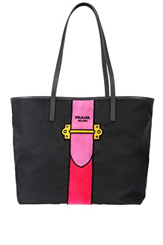 (Prada Womens Black Tessuto Ricamo Shopping Tote Shoulder Bag Messenger Bag with Pink Velvet Accent Line Leather Trim 1BG065)
