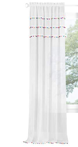 - Ben & Jonah PrimeHome Collection Pom Rod Pocket Window Curtain Panel-52x84-Bright, Bright