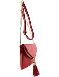 Soft leather tassels detail small envelope crossbody bag...