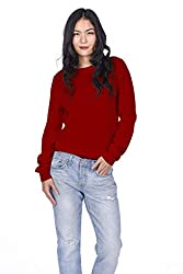 State Cashmere Women S 100 Pure Cashmere Long Sleeve Pullover Crew Neck Sweater Medium Red