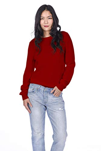 Sweater Cashmere Red - State Cashmere Women's 100% Pure Cashmere Long Sleeve Pullover Crew Neck Sweater (Medium, Red)