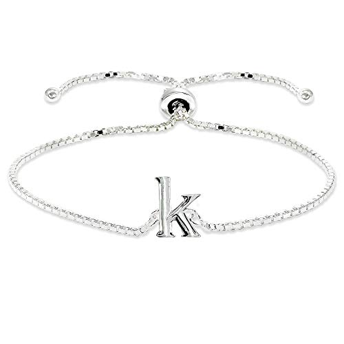 (Sterling Silver K Letter Initial Alphabet Name Personalized 925 Silver Adjustable Bolo Bracelet)